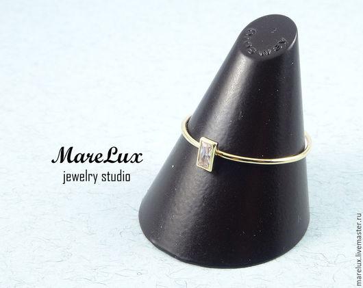 Кольца ручной работы. Ярмарка Мастеров - ручная работа. Купить Золотое кольцо с фианитом. Handmade. Кольцо, золотой