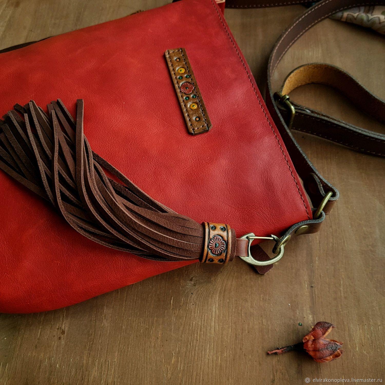Красная сумка планшет кожаная Жара, Классическая сумка, Нижний Тагил,  Фото №1