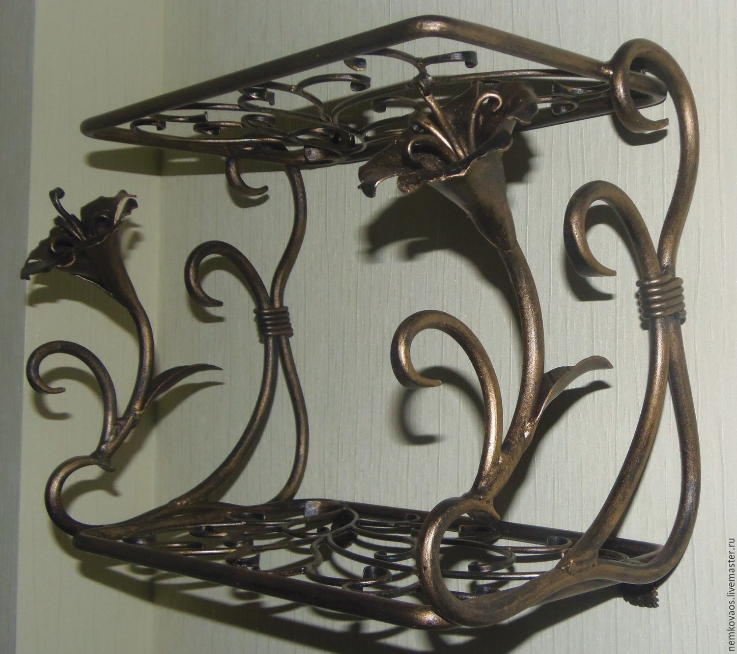 Buy wrought iron wall shelf with flowers on livemaster online shop furniture handmade livemaster handmade buy wrought iron wall shelf with flowershinged amipublicfo Choice Image