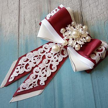 Accessories handmade. Livemaster - original item Burgundy bow tie brooch. Handmade.