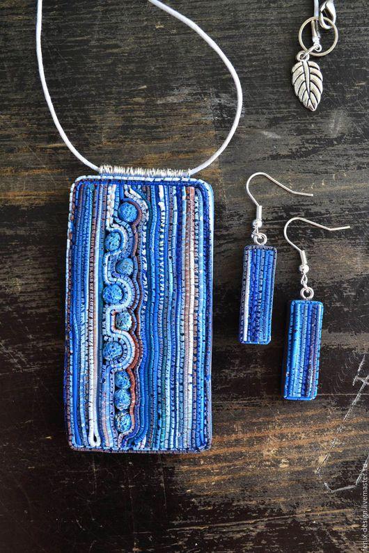 Комплекты украшений ручной работы. Ярмарка Мастеров - ручная работа. Купить Комплект кулон и серьги. Handmade. Разноцветный, голубой