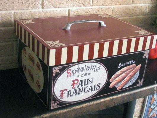 """Кухня ручной работы. Ярмарка Мастеров - ручная работа. Купить Хлебница """"Pain Francais"""". Handmade. Бордовый, деревянная заготовка"""