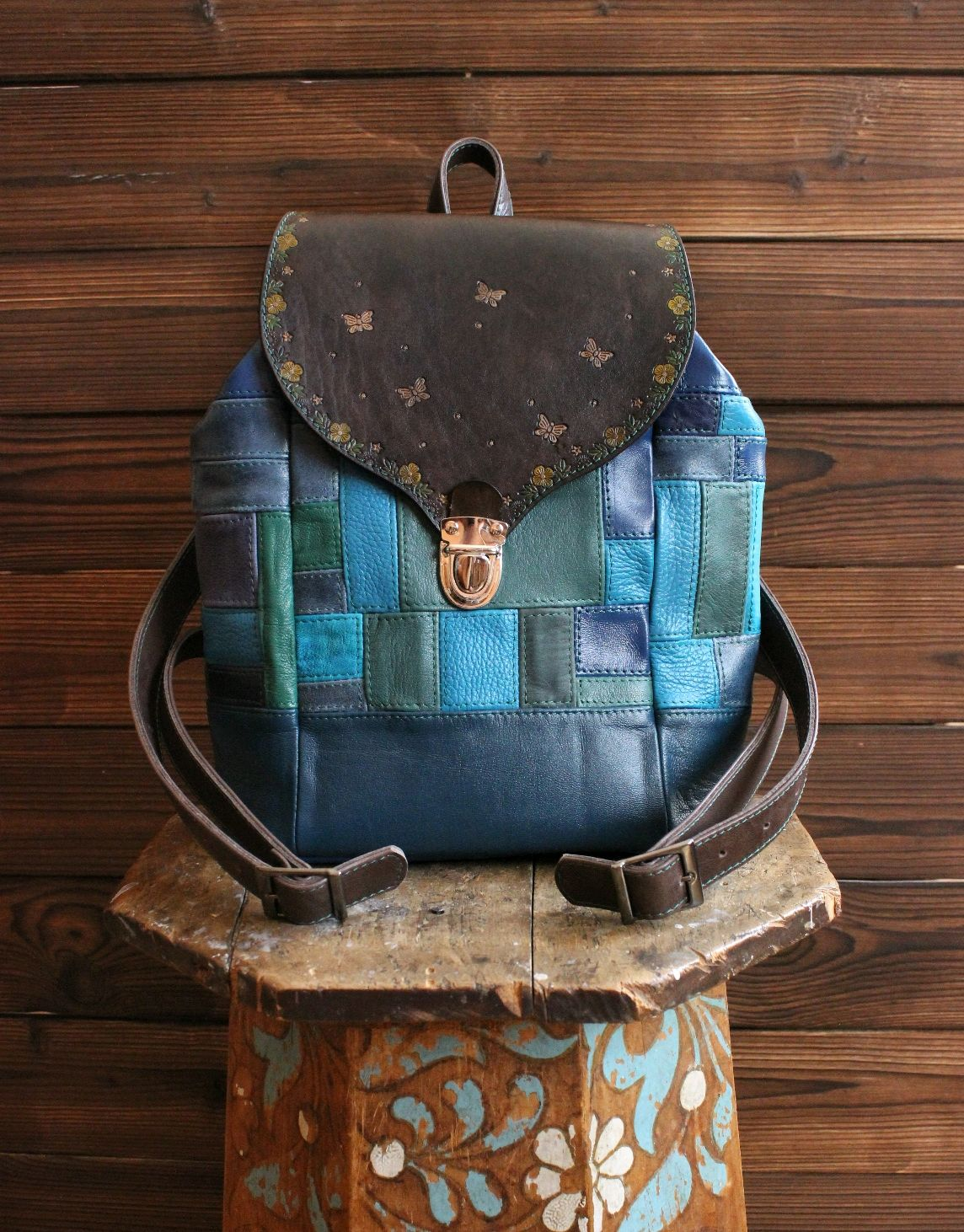 Genuine leather backpack in boho style Summer day blue and turquoise, Backpacks, St. Petersburg,  Фото №1