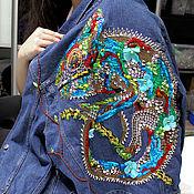 Одежда handmade. Livemaster - original item denim jacket chameleon. Handmade.