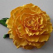 Цветы и флористика ручной работы. Ярмарка Мастеров - ручная работа Цветок заколка Роза желтая. Handmade.