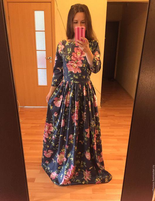 Платья ручной работы. Ярмарка Мастеров - ручная работа. Купить Платье в пол с рукавом Сочный синий с цветами на осень. Handmade.