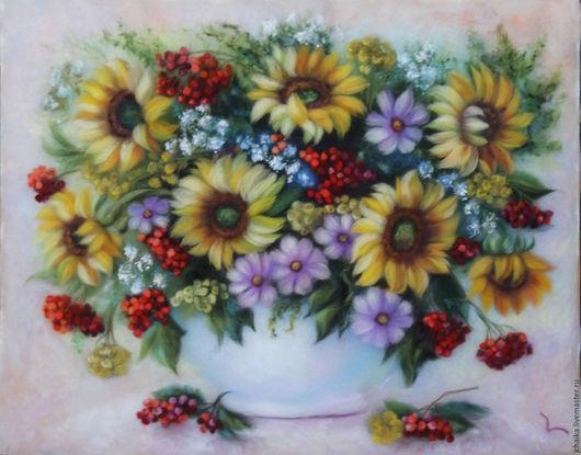 Картины цветов ручной работы. Ярмарка Мастеров - ручная работа. Купить Солнечный букет. Handmade. Комбинированный, букет с подсолнухами, дача