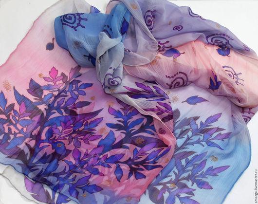"""Шали, палантины ручной работы. Ярмарка Мастеров - ручная работа. Купить батик шарф """"Рассветный лес"""" шелковый шарф батик. Handmade."""