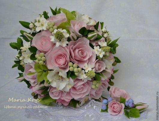 Букеты ручной работы. Ярмарка Мастеров - ручная работа. Купить Нежный букет с розовыми розами. Handmade. Белый, листва, модена
