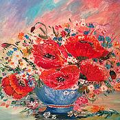 Картины ручной работы. Ярмарка Мастеров - ручная работа Маки в вазе. Handmade.
