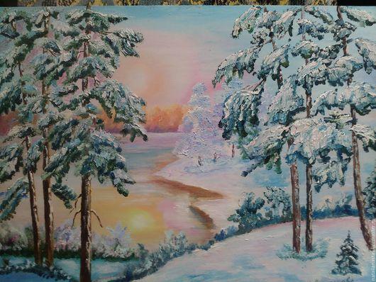 """Пейзаж ручной работы. Ярмарка Мастеров - ручная работа. Купить Картина маслом """"Зимушка-зима"""". Handmade. Бледно-розовый, река"""