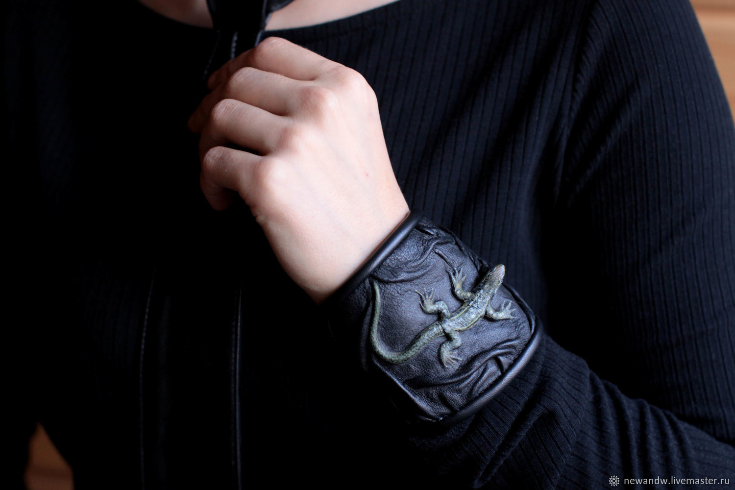 3D Bracelet with 'lizard' painting made of black genuine leather, Bead bracelet, Moscow,  Фото №1