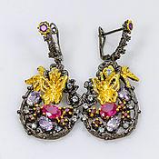 Украшения handmade. Livemaster - original item Earrings 925 silver with rubies amethysts and Topaz. Handmade.