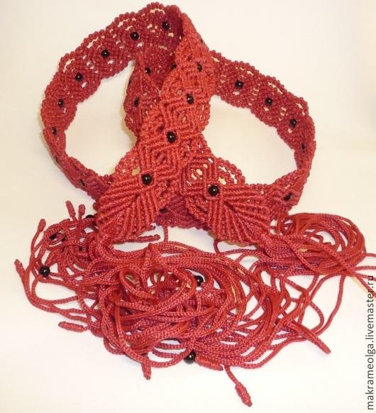 """Пояса, ремни ручной работы. Ярмарка Мастеров - ручная работа. Купить Плетеный женский пояс """"Ручеек"""", красный. Handmade."""