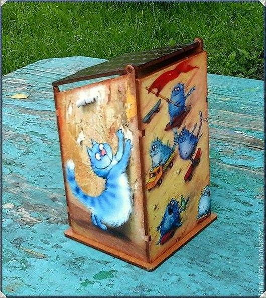 """Кухня ручной работы. Ярмарка Мастеров - ручная работа. Купить Чайный домик """"Весёлые коты"""" (декупаж). Handmade. Разноцветный"""