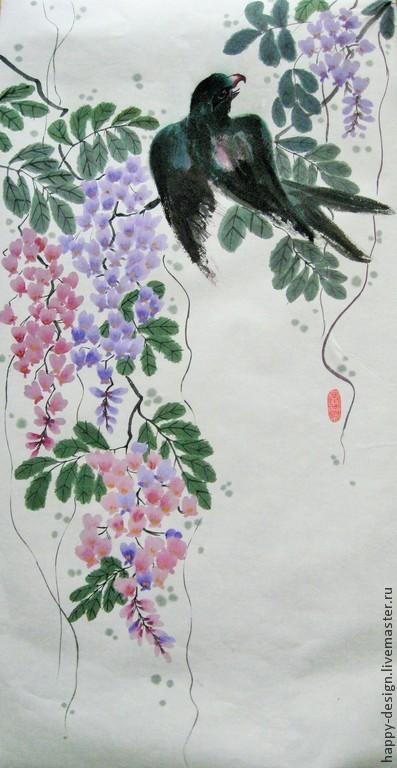 Картины цветов ручной работы. Ярмарка Мастеров - ручная работа. Купить Глициния. Handmade. Разноцветный, подарок на день рождения, тушь