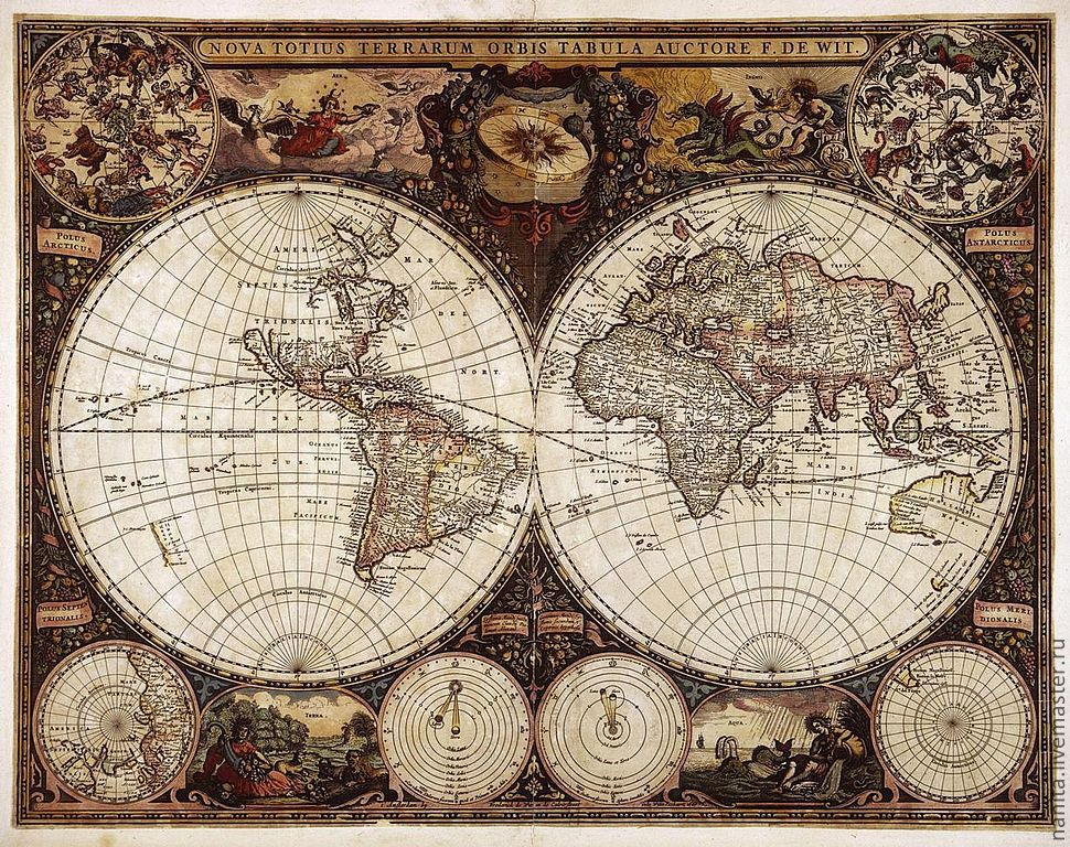 Репродукция карты мира `Nova
