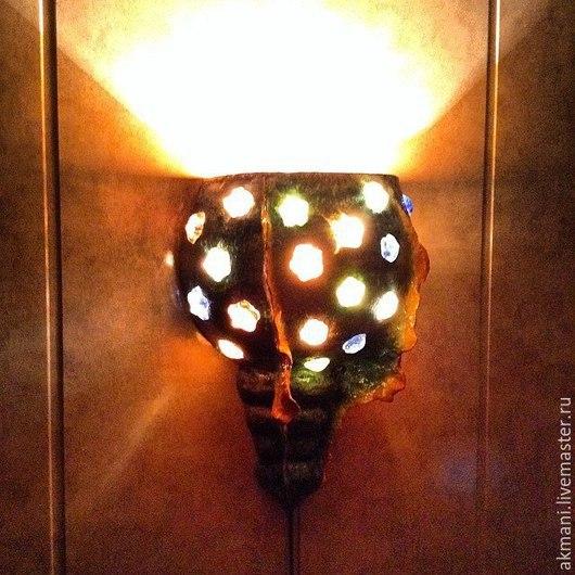 Освещение ручной работы. Ярмарка Мастеров - ручная работа. Купить Хвост дракона, настенный светильник. Handmade. Тёмно-бирюзовый, бра