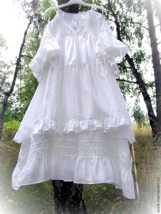 Платья ручной работы. Ярмарка Мастеров - ручная работа. Купить Белое платье-туника с кружевом ЛИЛИЯ. Handmade. Белый