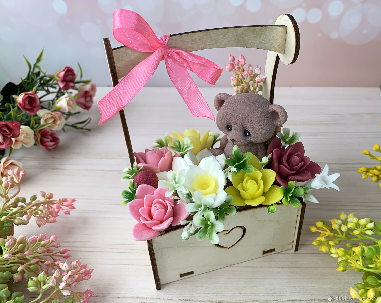 Soap bouquet in a wooden pot Mi-mi-mishka, Soap, Moscow,  Фото №1