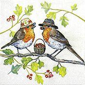 Птичьи шляпы (13310960) - салфетка для декупажа