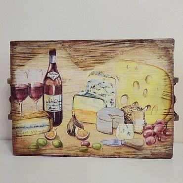 Для дома и интерьера ручной работы. Ярмарка Мастеров - ручная работа Сервировочная доска Вино и сыр. Handmade.