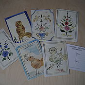 Русский стиль handmade. Livemaster - original item Postcards with author`s drawing in Russian style. Handmade.