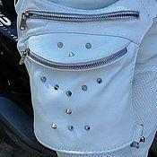 Сумки и аксессуары handmade. Livemaster - original item Leather white Lollypie hip bag. Handmade.