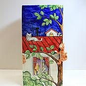 """Для дома и интерьера ручной работы. Ярмарка Мастеров - ручная работа Ваза """" Кот на крыше"""". Handmade."""
