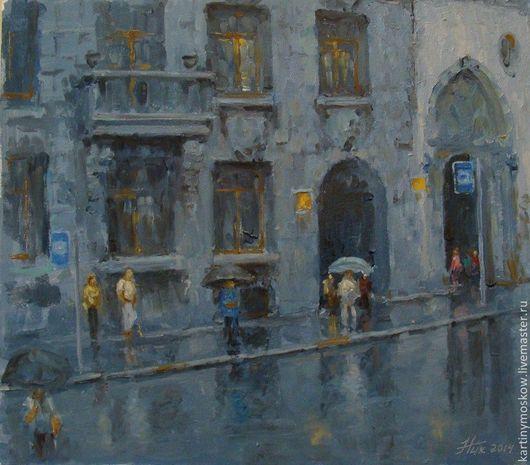 """Город ручной работы. Ярмарка Мастеров - ручная работа. Купить Картина маслом """"Питер. Неожиданный дождь"""". Handmade."""