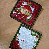 Прихватки ручной работы. Ярмарка Мастеров - ручная работа Прихватки: новогоднее настроение. Handmade.