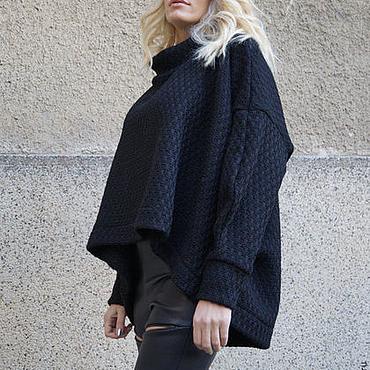 Одежда ручной работы. Ярмарка Мастеров - ручная работа Черный Ассимметричный свитер/Модный свитер/F1645. Handmade.