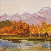 """Картины и панно ручной работы. Ярмарка Мастеров - ручная работа картина """"Осень в горах"""" (рыжий,  оранжевый). Handmade."""