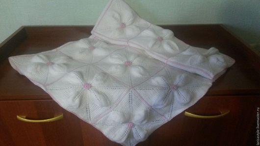 Для новорожденных, ручной работы. Ярмарка Мастеров - ручная работа. Купить Детский вязаный плед на выписку белый с розовым. Handmade.