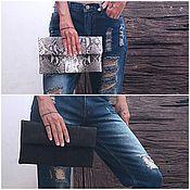 Сумки и аксессуары handmade. Livemaster - original item Clutch bag made from Python skin Natural grey and Black. Handmade.