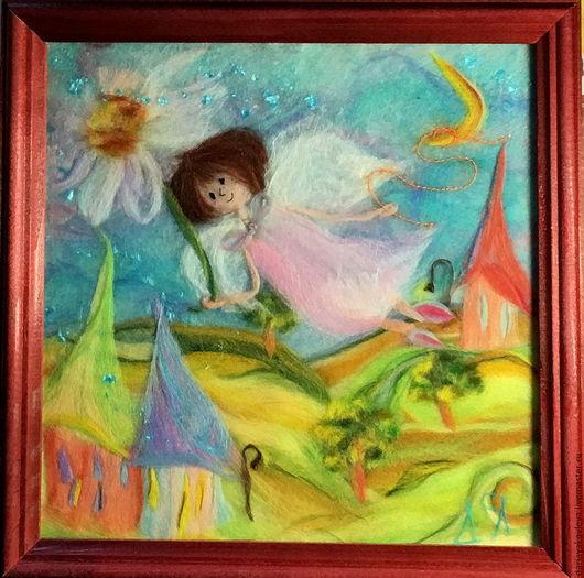 Люди, ручной работы. Ярмарка Мастеров - ручная работа. Купить Картина из шерсти Ангел над городом. Handmade. Бледно-розовый