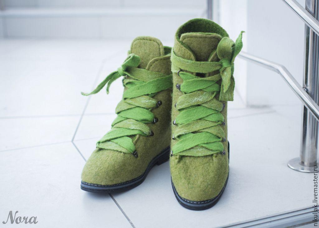 Ботинки Валяные Зеленый Мох – заказать на Ярмарке Мастеров – AD38HRU | Ботинки, Днепр