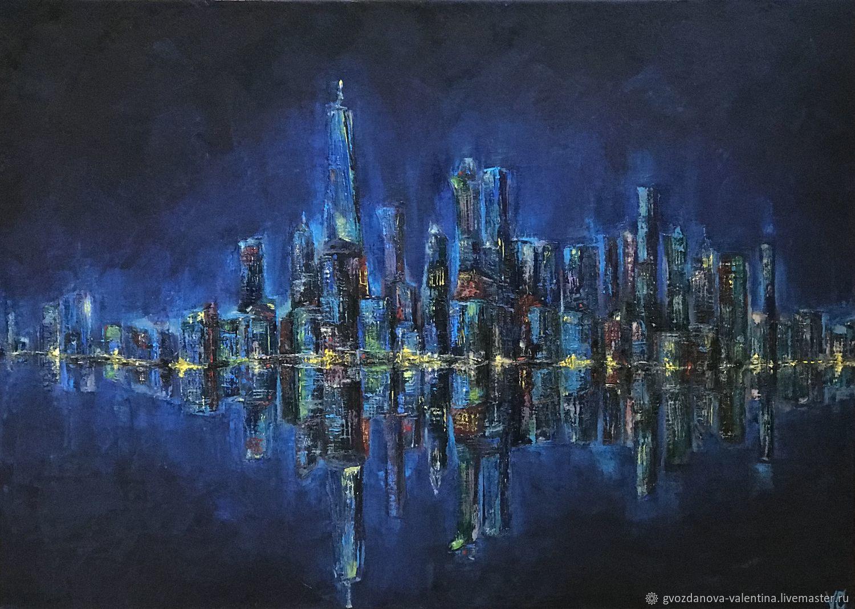 Картина город ночной Нью-Йорк абстракция маслом, Картины, Екатеринбург,  Фото №1