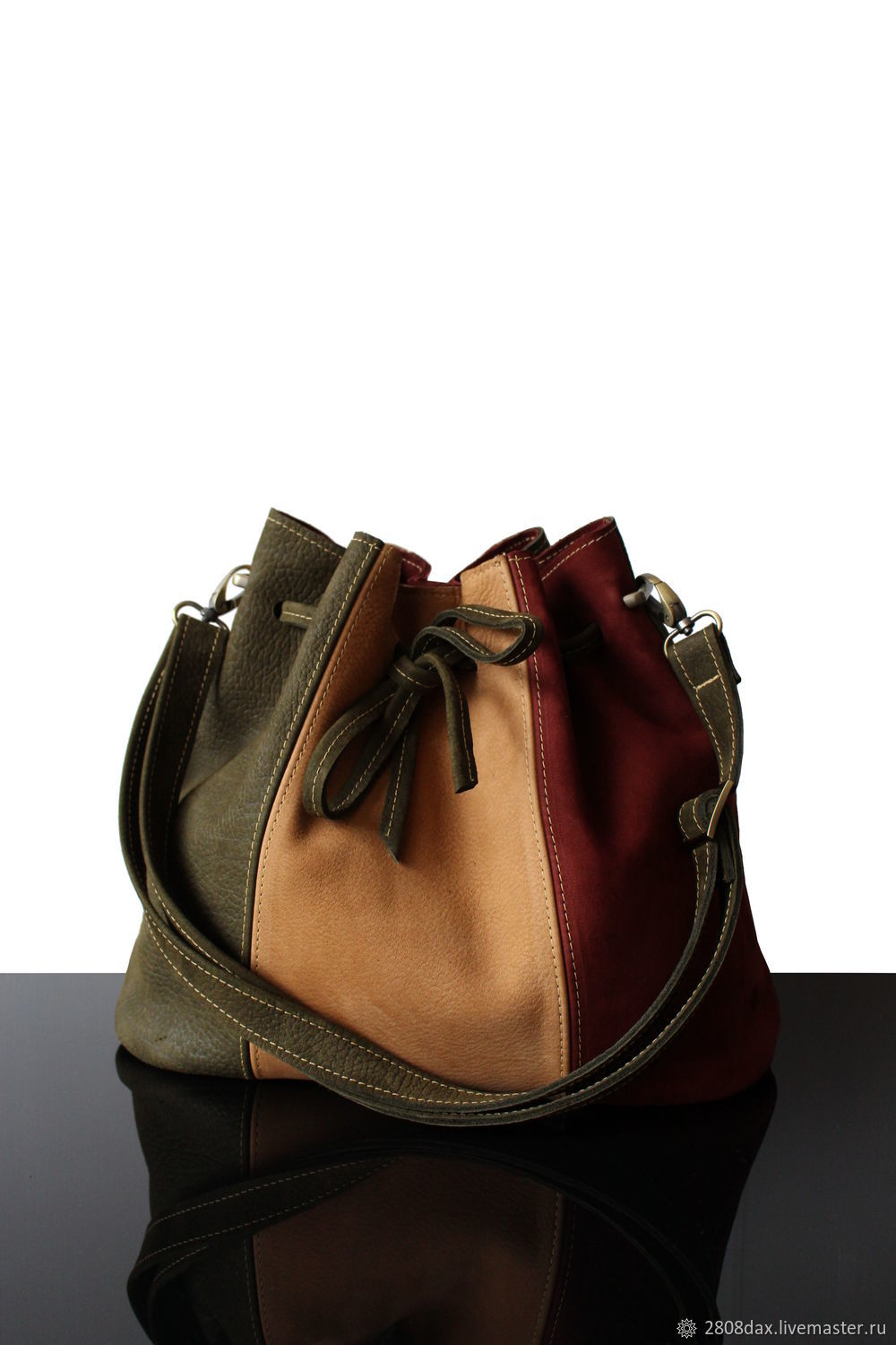 Bag-bag made of genuine suede, olive and terracotta, Sacks, Bordeaux,  Фото №1