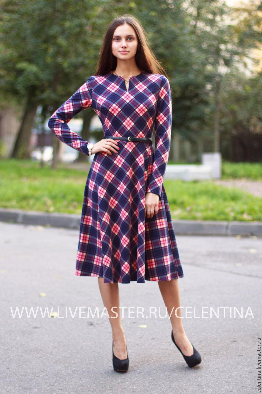 3c084b1bed0 Темно синее повседневное платье. Осеннее платье в клетку – купить в ...