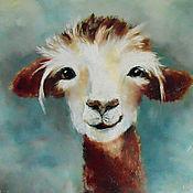 Картины и панно handmade. Livemaster - original item Llama fluffy oil Painting. Handmade.