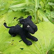 Куклы и игрушки ручной работы. Ярмарка Мастеров - ручная работа Пантера игрушка из шерсти  Багира, 15см. Handmade.