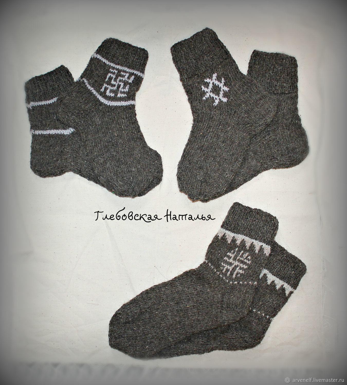 Warm socks with men's Slavic amulet symbols, Socks, Orenburg,  Фото №1