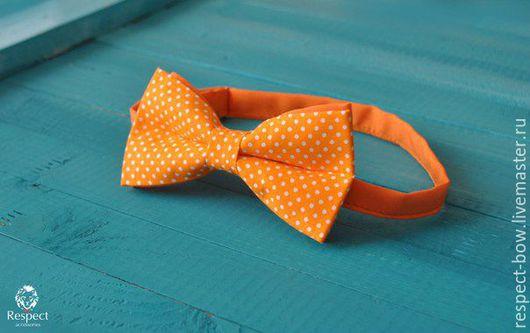 Галстуки, бабочки ручной работы. Ярмарка Мастеров - ручная работа. Купить Галстук бабочка Праздник / ярко оранжевая бабочка-галстук в горошек. Handmade.