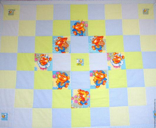 Детская ручной работы. Ярмарка Мастеров - ручная работа. Купить детское одеяло Мишки с пчелками. Handmade. Голубой, для новорожденного