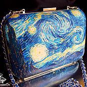 Сумки и аксессуары ручной работы. Ярмарка Мастеров - ручная работа Клатч кожаный Звёздная ночь Ван Гога. Handmade.