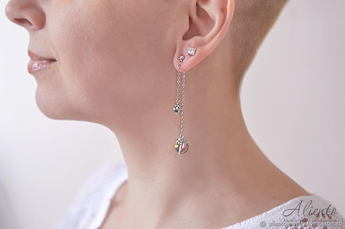 Long fashion earrings with synthetic opal, Earrings, Moscow,  Фото №1