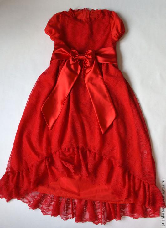 Одежда для девочек, ручной работы. Ярмарка Мастеров - ручная работа. Купить Платье кружевное Алое. Handmade. Ярко-красный