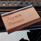 Сувениры и подарки handmade. Livemaster - original item Wood flash drive with engraving, memory card, 32 GB, souvenir. Handmade.