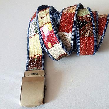 Accessories handmade. Livemaster - original item Women`s denim belt. Narrow belt with metal buckle.. Handmade.
